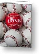 Still Life Photo Greeting Cards - Love baseball Greeting Card by Garry Gay