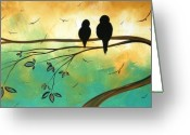 Aqua Greeting Cards - Love Birds by MADART Greeting Card by Megan Duncanson