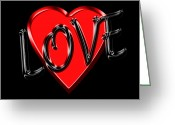 Amor Photo Greeting Cards - Love Black and Red 1 Greeting Card by Andrew Fare