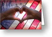 United We Stand Greeting Cards - Love from America Greeting Card by Lj Lambert