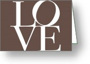 Typography Greeting Cards - Love in Chocolate Greeting Card by Michael Tompsett