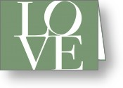 Typography Greeting Cards - Love in Green Greeting Card by Michael Tompsett