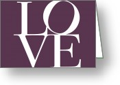 Typography Greeting Cards - Love in Mullbery Plum Greeting Card by Michael Tompsett
