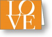 Typography Greeting Cards - Love in Orange Greeting Card by Michael Tompsett