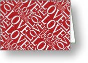 Typography Greeting Cards - Love in Red Greeting Card by Michael Tompsett