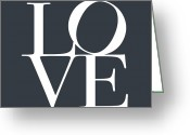 Typography Greeting Cards - Love in Slate Grey Greeting Card by Michael Tompsett