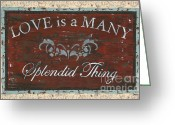 Old Painting Greeting Cards - Love Is A Many Splendid Thing Greeting Card by Debbie DeWitt