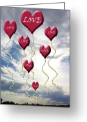 Sentiments Greeting Cards - Love is In The Air Blue Sky Clouds Greeting Card by Cathy  Beharriell