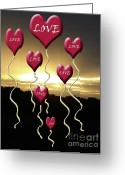 Sentiments Greeting Cards - Love is In The Air Golden Silhouette Greeting Card by Cathy  Beharriell