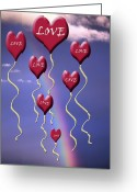 Sentiments Greeting Cards - Love is in The Air Rainbow Greeting Card by Cathy  Beharriell