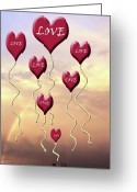 Sentiments Greeting Cards - Love Is in the Air Sunshine Rainbow Greeting Card by Cathy  Beharriell