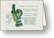 Biblical Greeting Cards - Love is  Greeting Card by Judy Dodds