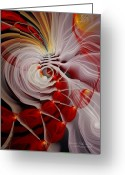Fractal Art Pastels Greeting Cards - Love is Like a Fire Greeting Card by Gayle Odsather