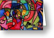 Abstract Card Pastels Greeting Cards - Love is My Religion Greeting Card by Emily Michaud