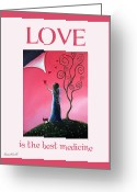 Fairies Art Greeting Cards - Love Is The Best Medicine by Shawna Erback Greeting Card by Shawna Erback