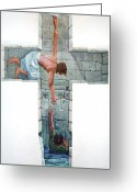 Religious Art Painting Greeting Cards - Love Greeting Card by Larry Cole