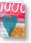 Orange Grey Greeting Cards - Love Life Greeting Card by Linda Woods