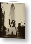 Philly Greeting Cards - Love Love Love Greeting Card by Bill Cannon
