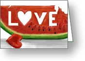 Melon Greeting Cards - Love Melon Greeting Card by Rezined Brainz