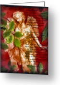 Guardian Angel Mixed Media Greeting Cards - Love Never Fails 3 Greeting Card by Angelina Vick