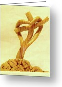 Heart Sculpture Greeting Cards - Love on a Cross Greeting Card by Russell Ellingsworth