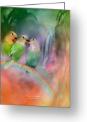 Animal Art Giclee Mixed Media Greeting Cards - Love On A Rainbow Greeting Card by Carol Cavalaris