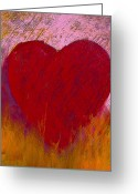 Fire Pastels Greeting Cards - Love on Fire Greeting Card by David Patterson