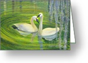 Greens Framed Prints Greeting Cards - Love On Swan Lake Greeting Card by Joy Cassidy