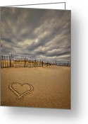 Footprint Greeting Cards - Love on the Forecast Greeting Card by Evelina Kremsdorf