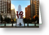 Philadelphia Greeting Cards - Love Park - Love Conquers All Greeting Card by Bill Cannon