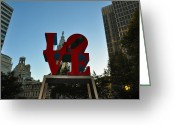 City Hall Digital Art Greeting Cards - Love Park in Philadelphia Greeting Card by Bill Cannon