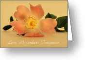 Faux Vintage Greeting Cards - Love Remembers Tomorrow Greeting Card by Zeana Romanovna