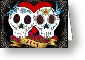 Sugar Greeting Cards - Love Skulls II Greeting Card by Tammy Wetzel