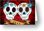 Mexican Flowers Greeting Cards - Love Skulls Greeting Card by Tammy Wetzel