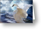 Romantic Art Greeting Cards - Love Swept Greeting Card by Carol Cavalaris