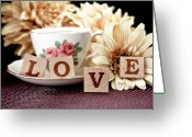 Teacup Greeting Cards - Love Greeting Card by Tom Mc Nemar