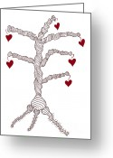 Tree Drawings Greeting Cards - Love tree Greeting Card by Frank Tschakert