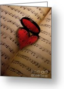 Music Notes Greeting Cards - Love v2.0 Greeting Card by Megan Noble