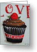 Cake Greeting Cards - Love Valentine Cupcake Greeting Card by Catherine Holman