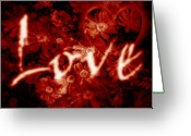 Valentine Greeting Cards - Love with Flowers Greeting Card by Phill Petrovic