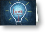 Lesson Greeting Cards - Love Word In Light Bulb Greeting Card by Setsiri Silapasuwanchai
