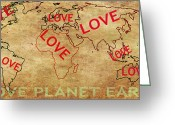 Earth Map Greeting Cards - Love World Map Greeting Card by Georgeta  Blanaru