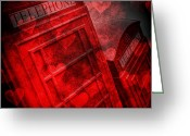 Image Overlay Greeting Cards - Love your telephone box Greeting Card by Martin  Fry