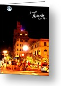 First Lady And President Greeting Cards - Lovely Asheville Night Downtown Greeting Card by Ray Mapp