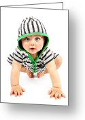 Newborn Greeting Cards - Lovely boy isolated on white background Greeting Card by Anna Omelchenko