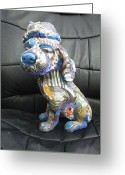 Stripes Sculpture Greeting Cards - Lovely Dog Greeting Card by Sima Amid Wewetzer