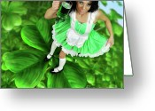 Holding Flower Greeting Cards - Lovely Irish Girl with a Glass of Green Beer Greeting Card by Oleksiy Maksymenko
