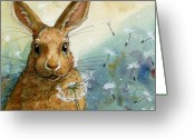 Valentine Greeting Cards - Lovely Rabbits - With dandelions Greeting Card by Svetlana Ledneva-Schukina