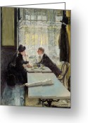 Listening Greeting Cards - Lovers in a Cafe Greeting Card by Gotthardt Johann Kuehl