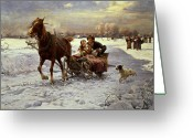 Sleigh Greeting Cards - Lovers in a sleigh Greeting Card by Alfred von Wierusz Kowalski